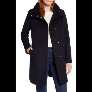 Cole Haan Snap Wool-Blend Car Coat Sz 10 NWT